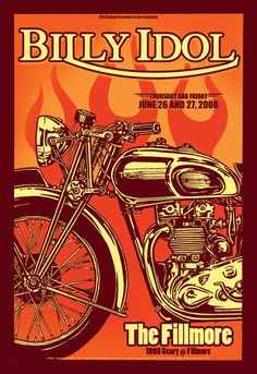 ☯☮ॐ American Hippie Psychedelic Art Classic Rock concert poster ~ Billy Idol . . Fillmore