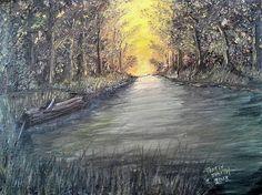Print of my Original Oil Painting Sunrise  creek by DigiDoodleShop, $35.00