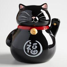 Black Lucky Cat Ceramic Cookie Jar by World Market