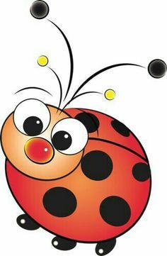 So cute ladybug Art Drawings For Kids, Cartoon Drawings, Easy Drawings, Animal Drawings, Art For Kids, Painting Patterns, Fabric Painting, Ladybug Art, Rock Crafts