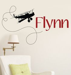 This Vintage Biplane name will be the perfect edition to a nursery, playroom, bathroom or bedroom. Total Decal measures: 45 inches wide by 25 high Vintage Airplane Nursery, Airplane Room, Airplane Decor, Vintage Airplanes, Aviation Nursery, Baby Boy Rooms, Baby Boy Nurseries, Baby Room, Boys Bedroom Wallpaper