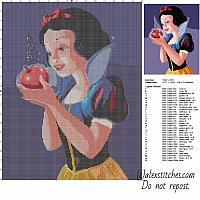 Beautiful Disney Princess Snow White with red apple free cross stitch pattern