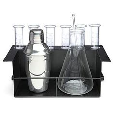 Chemist's Cocktail Kit- Barware for the Evil Mad Mixologist  The life of a Mad Scientist is a trying one. There are so many giant death robots to build and mind-control serums to develop that by the end of the day, you're exhausted! Time to send the minions off to bed, and enjoy a delightfully refreshing libation in your secret lair. Our barware set is made from steel and borosilicate glass and will fit right into your laboratory's design scheme. Why? Because science!