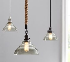 "PB Classic Pendant - Vintage Glass | Pottery Barn  8.25"" diameter by 7.5"" high, frosted or smoky clear glass shade. Rope hang only with clear glass"