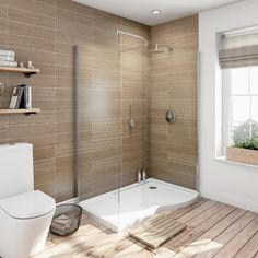 Curved Walk In Shower Enclosure Pack 1400 x 900 with Shower tray RH Bad Inspiration, Bathroom Inspiration, Shower Floor, Shower Drain, Huge Shower, Square Shower Enclosures, Douche Design, Shower Tile Designs, Modern Bathroom Design