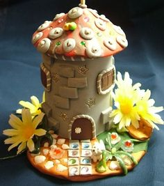 fairytale house miniature relaxing cottage polymer clay by irmart, $16.99