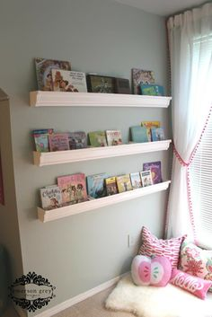Raspberry Girl {raspberry and aqua big girl room},  book wall made from ledges, reading nook, pink and aqua girls room