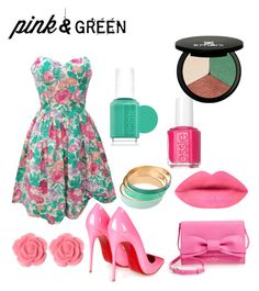 """""""#ContestOnTheGo #Pink&Green"""" by maria-plx on Polyvore featuring Christian Louboutin, Kate Spade, Dollydagger, Essie and Emani"""