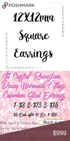 """◼️12mm Square Handmade Earrings!◼️ Hello! Welcome to my Gallery of Gems!😁 I'm working on some Guides to Post Throughout my Closet that will Hopefully make your Shopping Experience a little easier! I have almost 2,000 Active Listings😭, so I know it can be overwhelming to go thru! ◼️12mm Square Earrings, Approx 0.5"""" Diameter, can be made without a Frame (with the Stainless Steel Post Back), or in Gold, Silver or Bronze Frames!◼️You can make a Special Order, just message & Ask! Thank you!😘…"""