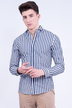Slim Fit Shirt In Wide Stripes
