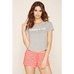 Forever 21 Women's  Laugh A Lot Graphic PJ Set ($15) ❤ liked on Polyvore featuring intimates, sleepwear, pajamas, forever 21 sleepwear, short sleeve pajama set, forever 21 pjs, forever 21 and forever 21 pajamas