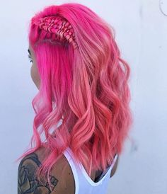 Neon Pink Hair by@dhairdi #pulpriot #mermaidhair #bohobraid