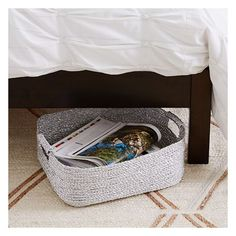 West Elm West Elm Metallic Woven Baskets, Under the Bed, Silver... ($25) ❤ liked on Polyvore featuring home, home decor, small item storage, silver, candy baskets, weave storage baskets, silver home decor, metallic home decor and plastic baskets