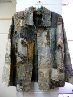 artful recycling from fabrics too good to waste - beautiful jacket with an obvious history, worked in the Japanese 'boro' folk fabric technique