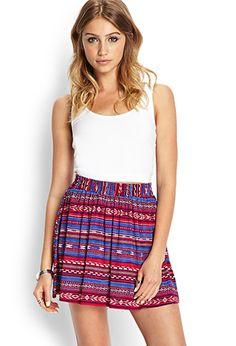 Southwestern Print Skater Skirt | FOREVER21 - 2000107546