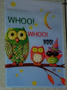 """Mary Engelbreit Halloween Owls Whoo ! Whoo! Boo! Mini Flag 12"""" X 18"""" . $19.50. Outdoor / Indoor Decorative Flag. Heavy Duty. Halloween Theme. 12"""" X 18"""" Mini  Flag. Release 2012. Release 2012 ; Great flag to add to your Mary Englbreit collection . We offer prompt First Class delivery service which ships usually out to you within one business day and provide you with a tracking number to help track your order. We believe in Quick Responses and Great Service! Buy more than one it..."""
