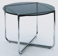 """Ludwig Mies van der Rohe. MR Coffee Table (This example manufactured 1976). 1927. Knoll International, Inc., New York, NY. Chrome-plated tubular steel and glass. 19 3/4 x 29"""" (50.2 x 73.7 cm). Gift of Knoll International Inc., USA. 410.1976. © 2017 Artists Rights Society (ARS), New York / VG Bild-Kunst, Bonn. Architecture and Design"""