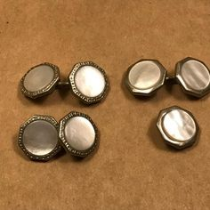 Vintage Mother of Pearl  and Silvertone Men's link cufflinks