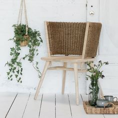 Handmade Dealia chair from Lene Bjerre made of sungkai wood and ramie in a natural colour. Danish Furniture, French Furniture, Furniture Design, Scandinavian Chairs, Scandinavian Interior, Tropical Furniture, Nordic Living, European Home Decor, Handmade Furniture