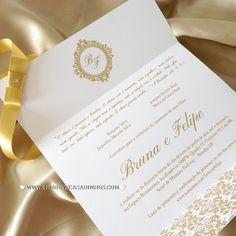Convite Econômico Clássico Dourado