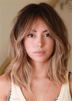 Long Bob Hair Style Fringe Bangs Human Hair Wavy Wig 16 Inches Best Picture For bangstyle hair long Haircut For Thick Hair, Thick Hair Hairstyles, Lob Haircut With Bangs, Braided Hairstyles, Wedding Hairstyles, Long Fringe Hairstyles, Bangs Hairstyle, Braid Bangs, Medium Brunette Hairstyles