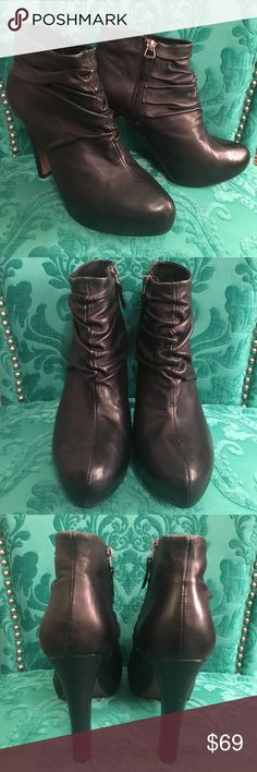 """Cynthia Rowley Marlene Black Heeled Ankle Booties Cynthia Rowley 'Marlene' Black Heeled Ankle Boots / Booties. Ruched Leather upper. Leather sole. Side zipper. Excellent pre-owned condition. 4"""" heel Cynthia Rowley Shoes Ankle Boots & Booties"""