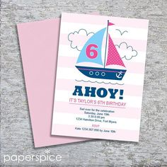 Nautical Sailboat Party Invitation – DIY Printable Personalized – Pink Girl (Digital File) Kids Birthday Party Invitations, Birthday Parties, June Celebrations, Nautical Party, Sailboat, Pink Girl, Party Themes, Printable