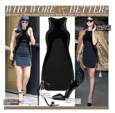 """""""Who Wore It Better?Kylie Jenner or Selena Gomez in Alexander Wang Ball Chain Trim Wavy Velvet Panel Dress"""" by kusja ❤ liked on Polyvore featuring Mode, Alexander Wang, Gianvito Rossi, Giuseppe Zanotti, WhoWoreItBetter, selenagomez, KylieJenner und wwib"""