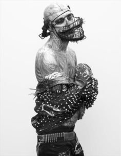 Photographer Steven Klein, fashion director Nicola Formichetti and model Rick Genest got together to shoot a spread for issue Spring/Summer 2011 of Arena Homme Plus. All clothes worn by Genest are. Rick Genest, Rhode Island, Fashion Art, Editorial Fashion, Male Editorial, Lazy Fashion, Gents Fashion, Fashion Boots, Another Love