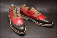 Handmade three tone shoes, wingtip brogue shoe, men leather shoes, crepe sole - Dress/Formal