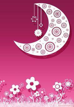 Vector Moon & Flowers Wallpaper.