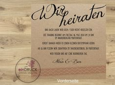 **Hochzeitskarte mit Spitzeim Vintage Style / Quadratisch...** Eure Einladungskarte zur Hochzeit mit individuellem Text auf der Vorder- und Rückseite. Die Texte können individuell nach Euren...