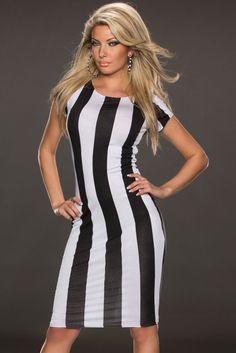 Classic Black White Vertical Stripes Midi Dress