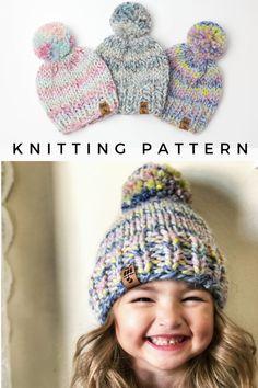 Baby Hat Knitting Patterns Free, Beanie Pattern Free, Baby Hat Patterns, Baby Hats Knitting, Knitting For Kids, Easy Knitting, Free Christmas Knitting Patterns, Chunky Hat Pattern, Knitting Ideas
