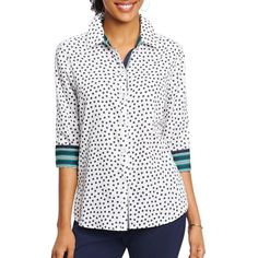 Foxcroft Plus Tennis Ball-Printed Cotton Shirt ($65) ❤ liked on Polyvore featuring tops, tennis dot, white polka dot shirt, button up shirts, cotton button down shirts, white button down shirt and white cotton tops