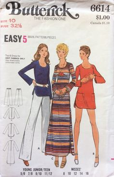 Butterick 6614 UNCUT Misses Tunic, Dress, Top and Pants by Lonestarblondie on Etsy