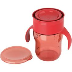 Thinking about trying this for the kids first cups.  It's called My First Grown Up Cup by Avent.  It's still spillproof and I think (hope) it will make for a good transition into a regular cup.  Fingers crossed!