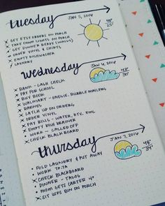 """Definitely need to work on my cursive writing  and my clouds but I'm loving this daily layout! #bujo #bulletjournalcommunity #bulletjournal…"""
