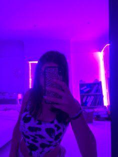 selfie aesthetic lights mirror led purple neon snap teen poses rooms teenage