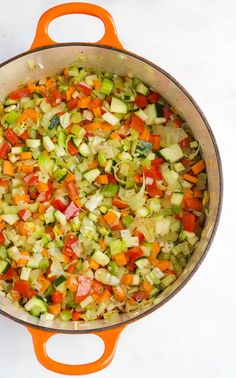 Chopped Vegetables in Pan before Cooking