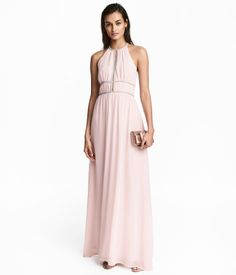 Light pink. Long, dress in crêped woven fabric. Narrow-cut top with opening at front and short, narrow shoulder straps with fasteners at back of neck.