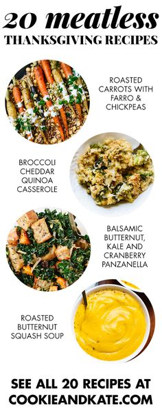 20 delicious vegetarian recipes for your Thanksgiving table! Find them at cookieandkate.com