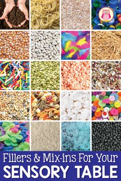 Are you looking for new ideas for sensory table materials. This article provides LOTS of ideas for fillers, mix-ins and tools.  The combinations are endless.