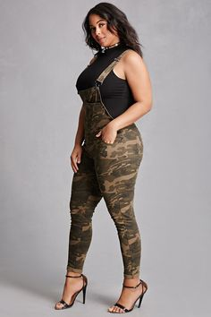 Forever 21+ - A pair of knit overalls featuring an allover camo print, a square neckline, adjustable straps with snap-lock closure, a six-pocket construction, and buttoned sides. This is an independent brand and not a Forever 21 branded item.