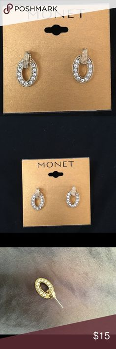 Monet Golden Earrings These Monet earrings are stunning, have all rhinestones and has never been used. Open to offers Monet Jewelry Earrings