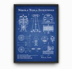 Tesla Inventions Wall Art Poster  Nikola Tesla by QuantumPrints