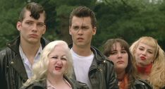 """Darren E. Burrows (as Milton Hackett), Kim McGuire (as Mona """"Hatchet-Face"""" Malnorowski), Johnny Depp (as Wade """"Cry-Baby"""" Walker), Ricki Lake (as Pepper Walker) and Traci Lords (as Wanda Woodward) from John Waters' Cry-Baby, 1990"""