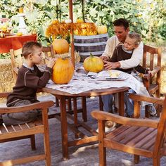 Personalized Plants, let kids etch their names in young pumpkins with a ball-point pen(or with a nail) and watch what happens.