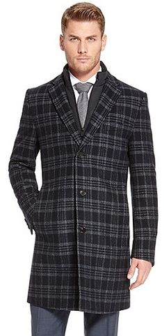 $995, Charcoal Plaid Overcoat: Hugo Boss Logan Virgin Wool Blend Overcoat Dark Blue. Sold by Hugo Boss. Click for more info: http://lookastic.com/men/shop_items/16115/redirect