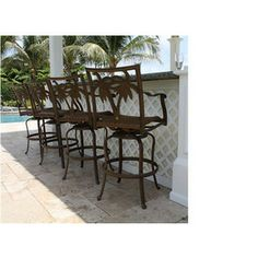 Hospitality Rattan Set Of 4 Swivel Mesh Seat Aluminum Patio Bar Height Chair Outdoor